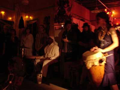 Voodoo druming fills the night.